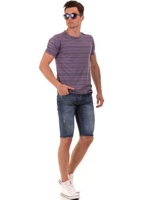 Мъжка блуза с фигурални мотиви XINT 940 - лилава C