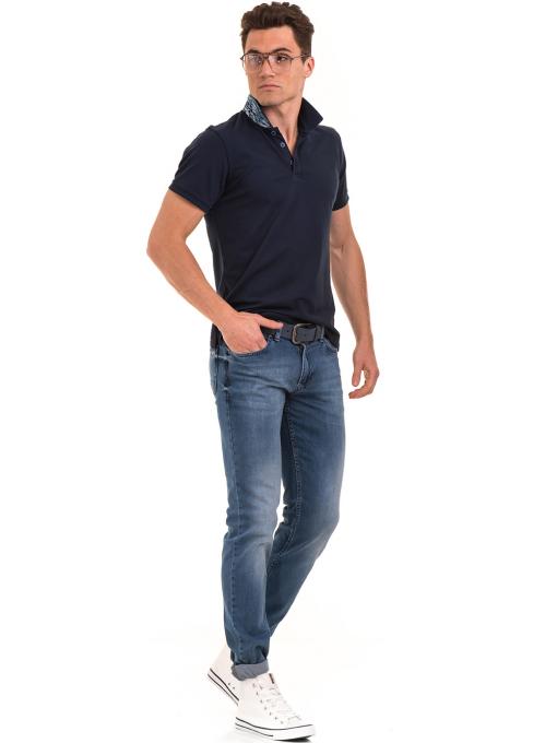 Мъжка блуза с къс ръкав и яка XINT 986 - тъмно синя C