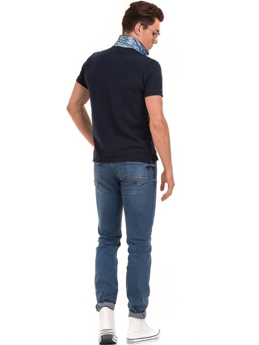 Мъжка блуза с къс ръкав и яка XINT 986 - тъмно синя E