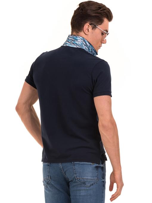 Мъжка блуза с къс ръкав и яка XINT 986 - тъмно синя B
