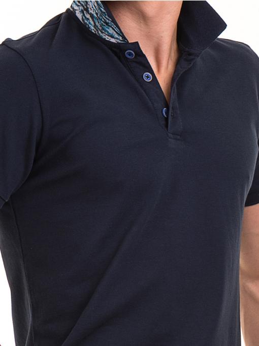 Мъжка блуза с къс ръкав и яка XINT 986 - тъмно синя D