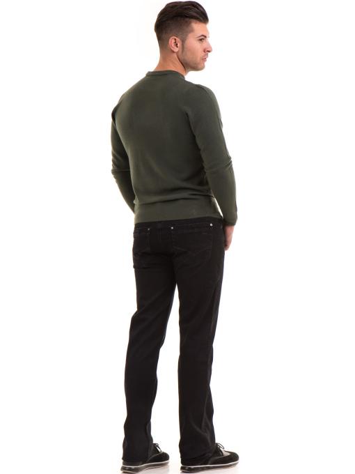 Мъжки пуловер от фино плетиво AFM 600 - цвят каки E