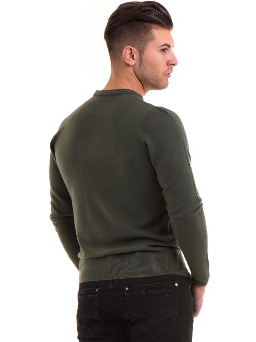 Мъжки пуловер от фино плетиво AFM 600 - цвят каки B