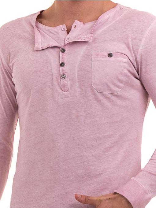 Мъжка спортна блуза с джоб BLUE PETROL 3144 - розова D