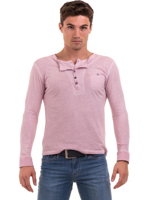 Мъжка спортна блуза с джоб BLUE PETROL 3144 - розова