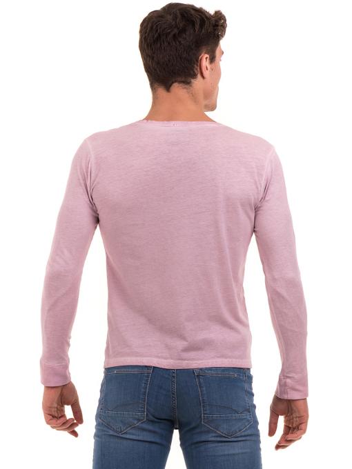 Мъжка спортна блуза с джоб BLUE PETROL 3144 - розова B