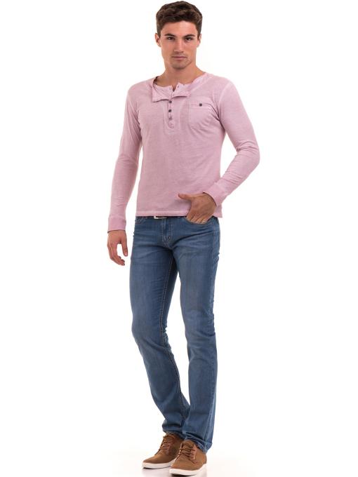 Мъжка спортна блуза с джоб BLUE PETROL 3144 - розова C