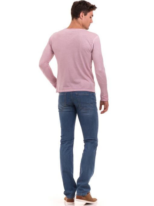 Мъжка спортна блуза с джоб BLUE PETROL 3144 - розова E