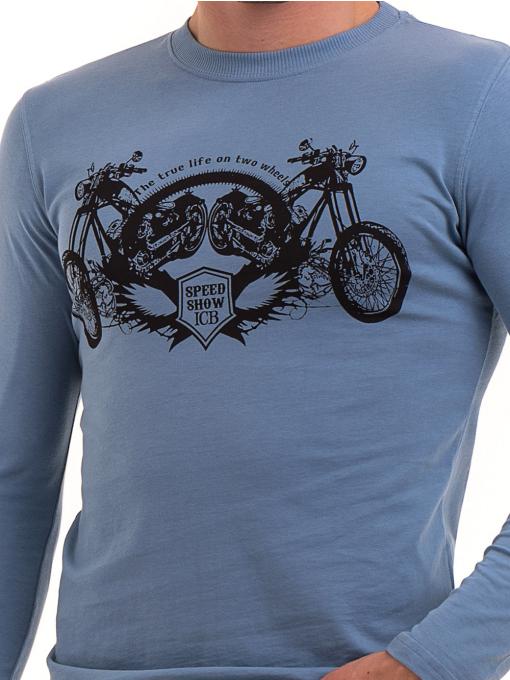 Мъжка спортна блуза с щампа ICEBOYS 0027 - синя D