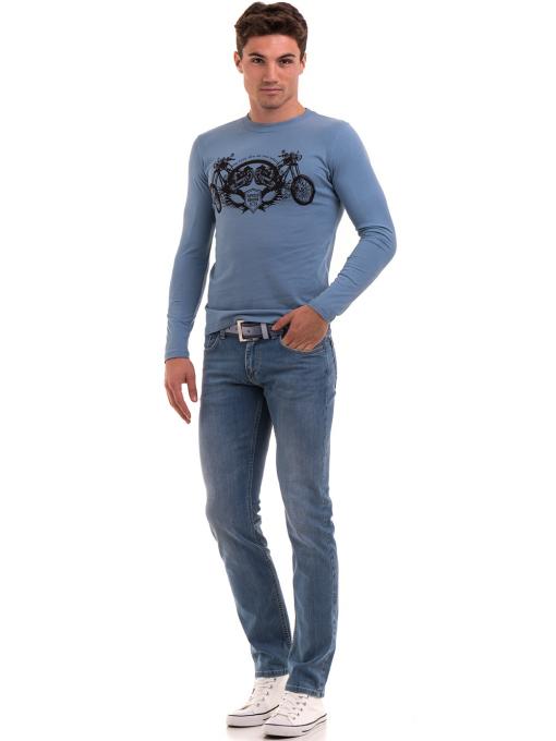 Мъжка спортна блуза с щампа ICEBOYS 0027 - синя C