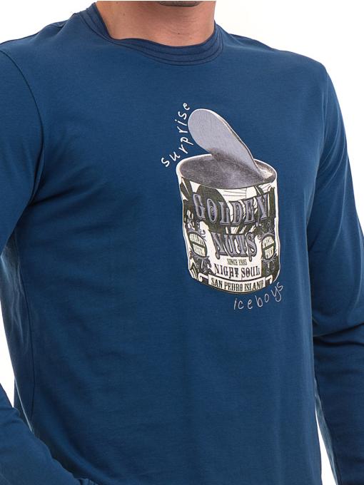 Мъжка спортна блуза с щампа ICEBOYS 1033 - синя D