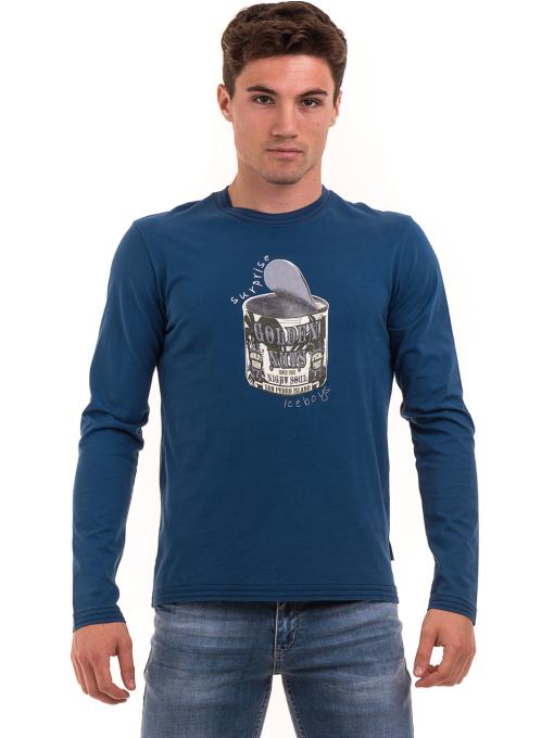 Мъжка спортна блуза с щампа ICEBOYS 1033 - синя