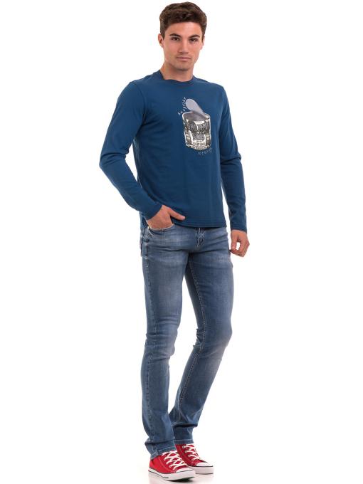 Мъжка спортна блуза с щампа ICEBOYS 1033 - синя C