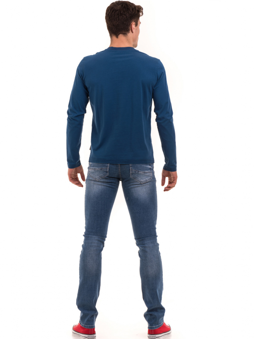 Мъжка спортна блуза с щампа ICEBOYS 1033 - синя E