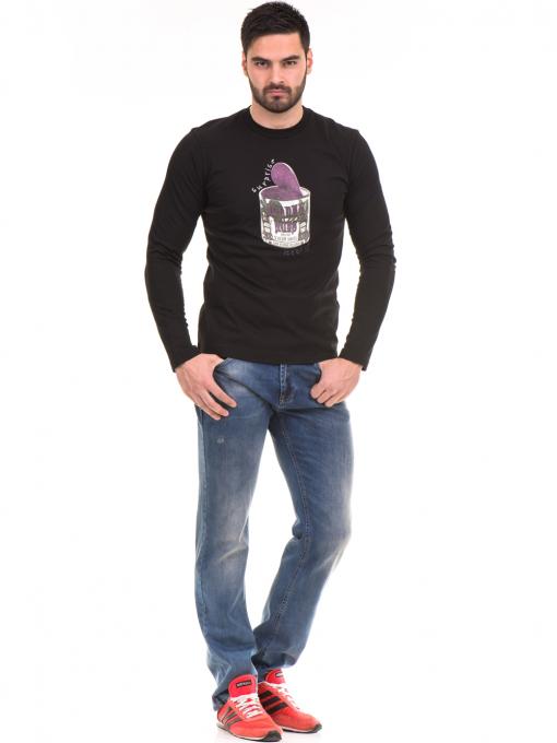 Мъжка спортна блуза с щампа ICEBOYS 1033 - черна C