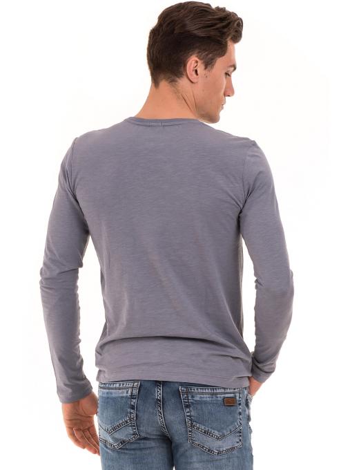 Мъжка спортна блуза с щампа-надпис ICEBOYS 3702 - сива B