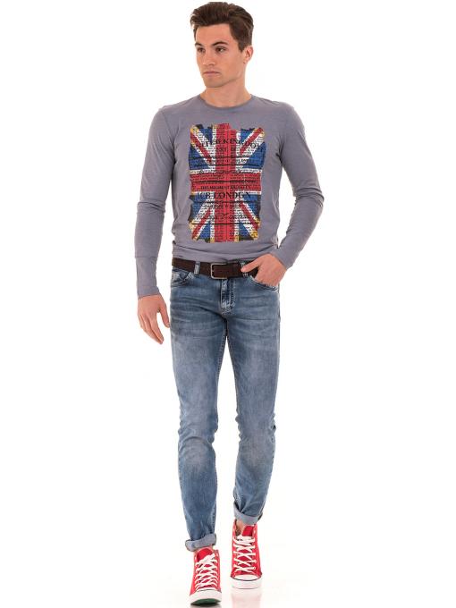 Мъжка спортна блуза с щампа-надпис ICEBOYS 3702 - сива C