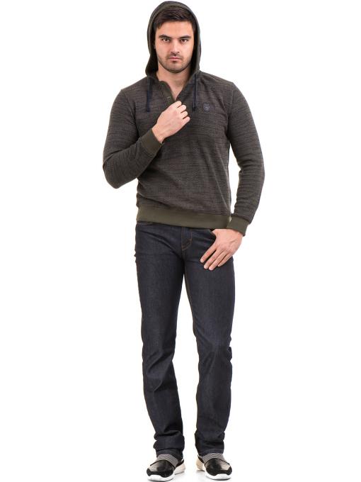 Мъжки спортен пуловер с качулка MCL 27904 - цвят каки C
