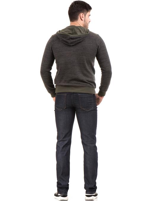 Мъжки спортен пуловер с качулка MCL 27904 - цвят каки E