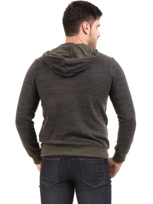 Мъжки спортен пуловер с качулка MCL 27904 - цвят каки B