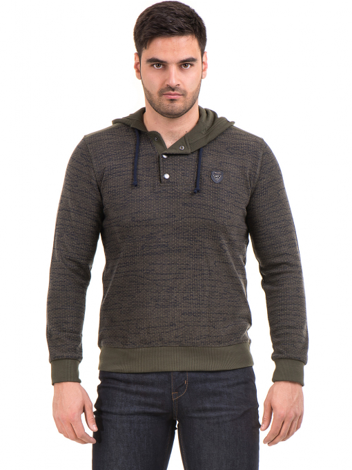 Мъжки спортен пуловер с качулка MCL 27904 - цвят каки