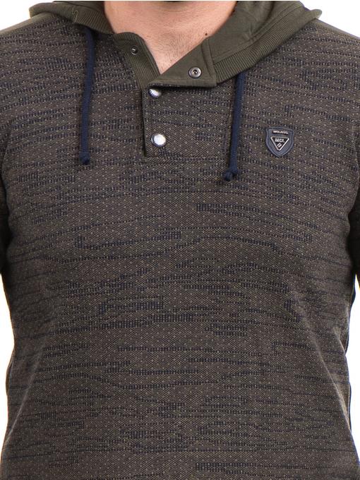Мъжки спортен пуловер с качулка MCL 27904 - цвят каки D