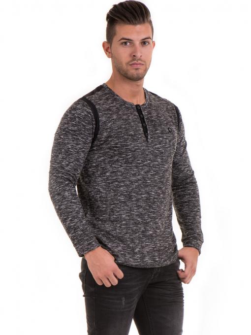 Мъжка блуза с копчета  MCL 29123 - черна