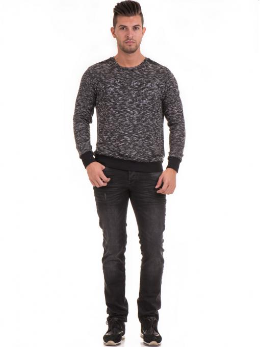 Мъжка блуза с обло деколте  MCL 29124 - черна C