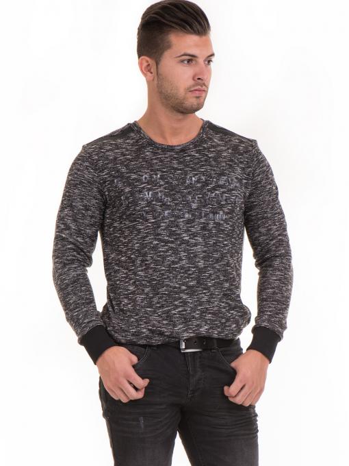 Мъжка блуза с обло деколте  MCL 29124 - черна