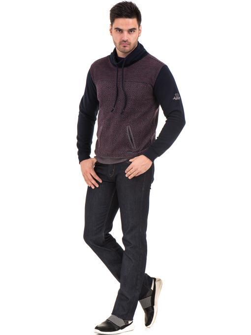 Мъжки спортен пуловер с яка MCL 29127 - цвят бордо C