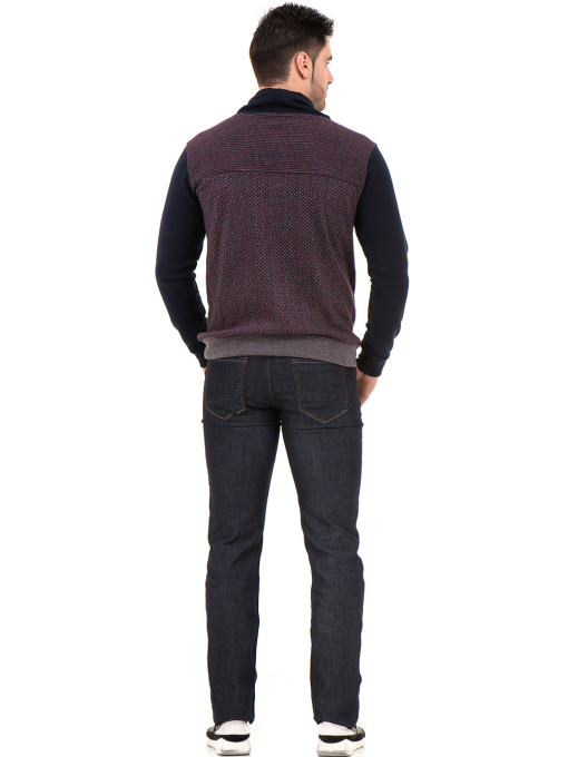Мъжки спортен пуловер с яка MCL 29127 - цвят бордо E