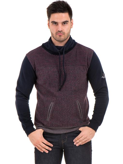 Мъжки спортен пуловер с яка MCL 29127 - цвят бордо