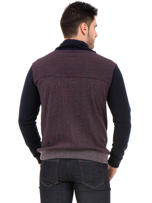 Мъжки спортен пуловер с яка MCL 29127 - цвят бордо B