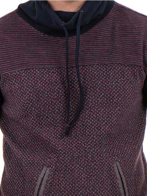 Мъжки спортен пуловер с яка MCL 29127 - цвят бордо D