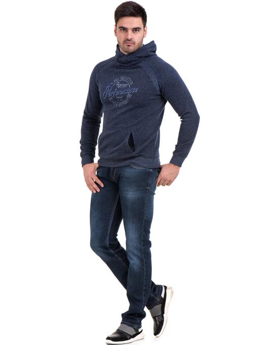 Мъжки спортен пуловер с качулка MCL 29132 - тъмно син C