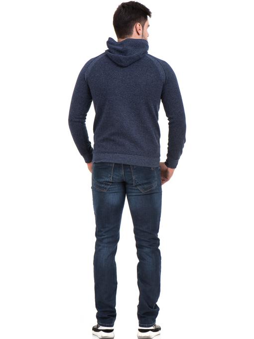 Мъжки спортен пуловер с качулка MCL 29132 - тъмно син E