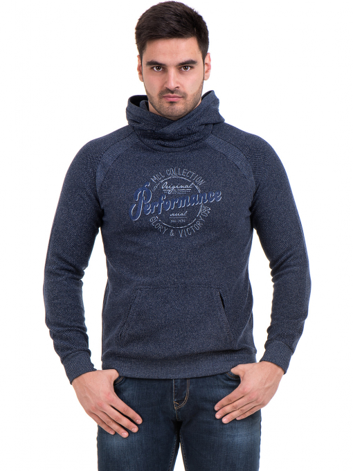 Мъжки спортен пуловер с качулка MCL 29132 - тъмно син