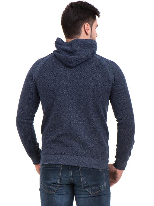Мъжки спортен пуловер с качулка MCL 29132 - тъмно син B