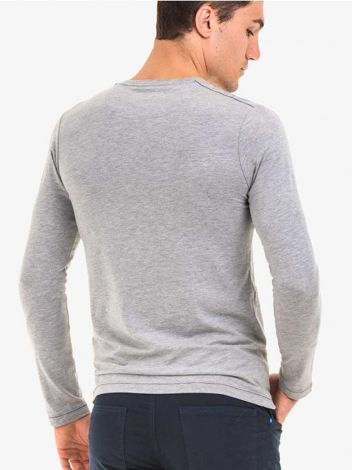 Мъжка спортна блуза с щампа MCL 29161 - сива