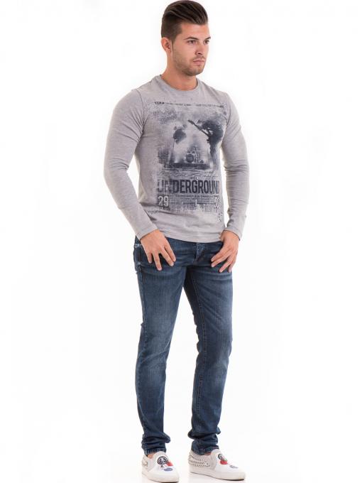 Мъжка спортна блуза с щампа MCL 29163 - сива C