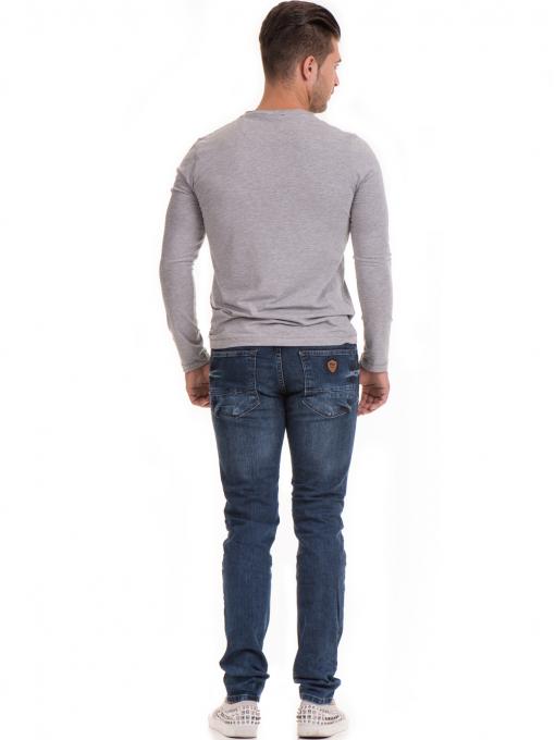 Мъжка спортна блуза с щампа MCL 29163 - сива E