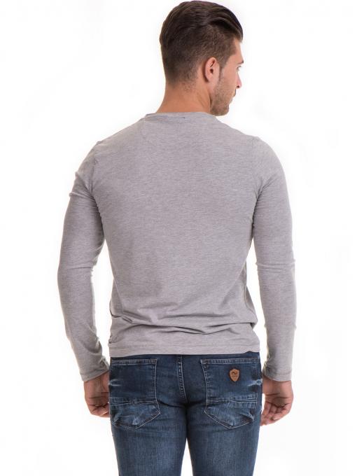 Мъжка спортна блуза с щампа MCL 29163 - сива B