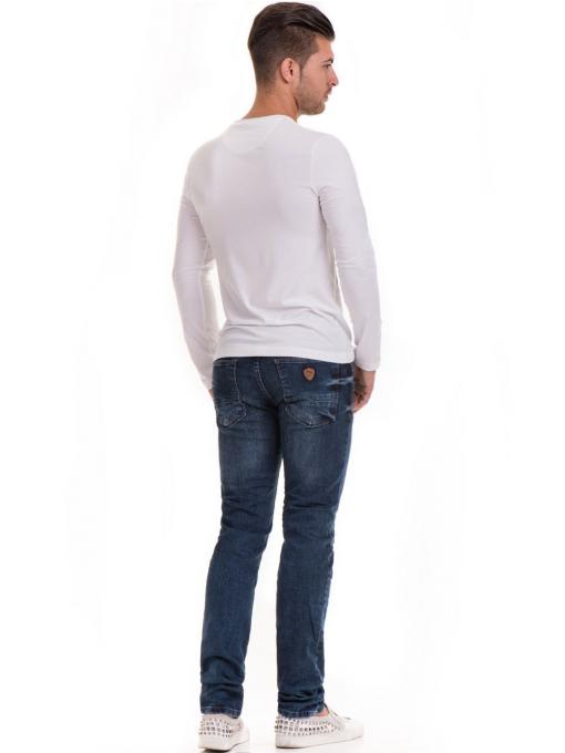 Мъжка спортна блуза с щампа MCL 29163 - бяла