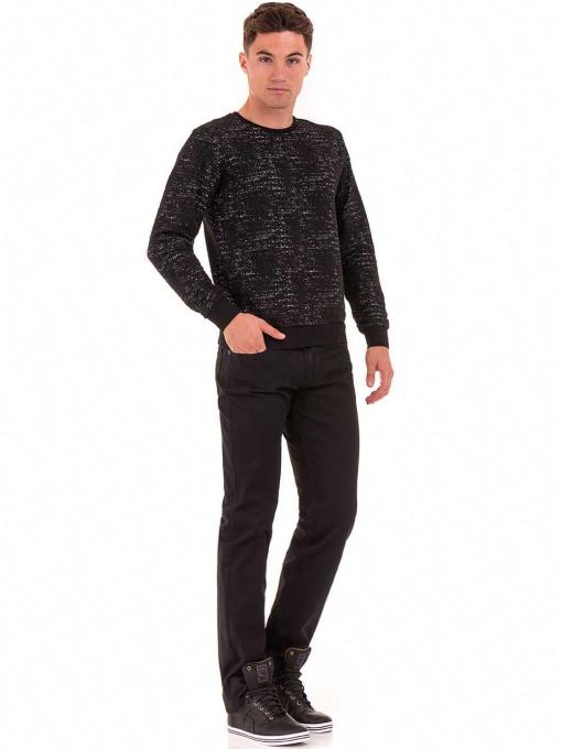 Класически мъжки прав панталон LACARINO с колан 3671 - черен C1