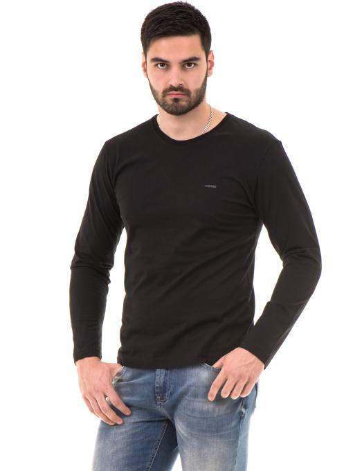 Мъжка спортна блуза VIGOSS B44221 - черна - големи размери