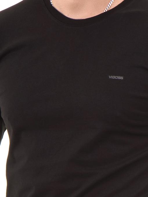 Мъжка спортна блуза VIGOSS B44221 - черна - големи размери D