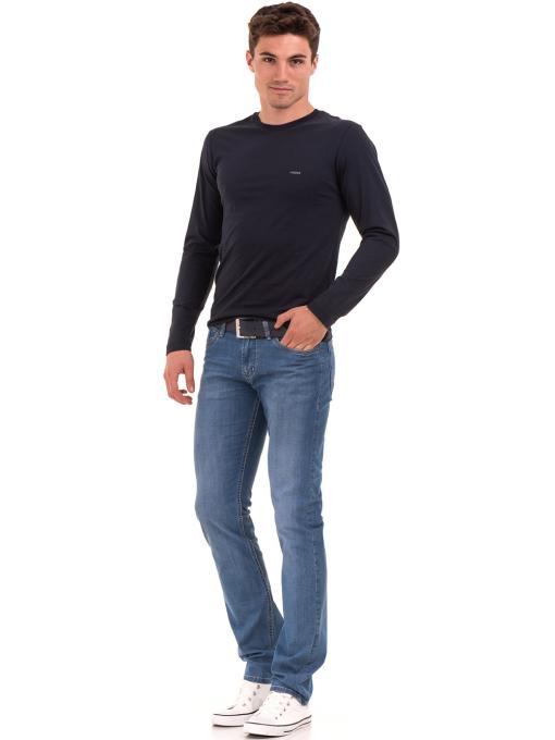 Мъжка спортна блуза VIGOSS B44221 - тъмно синя - големи размери C