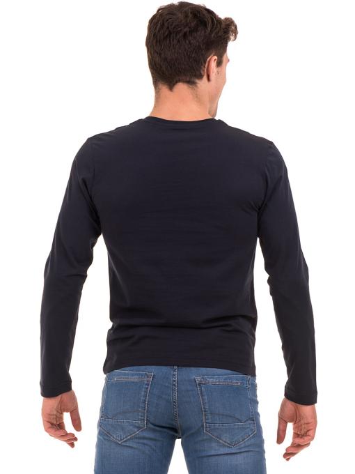 Мъжка спортна блуза VIGOSS B44221 - тъмно синя - големи размери B