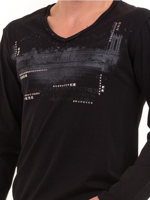 Мъжка спортна блуза с щампа-надпис VIGOSS 627 - черна D