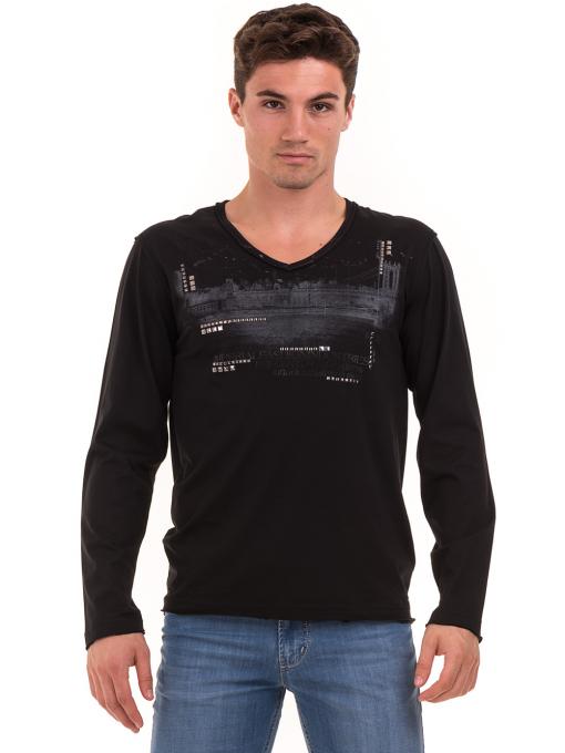 Мъжка спортна блуза с щампа-надпис VIGOSS 627 - черна